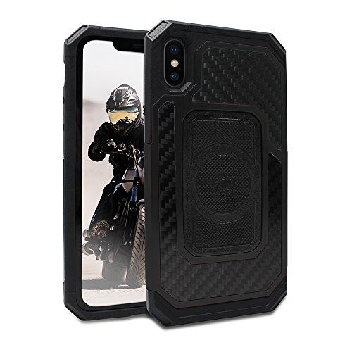 Rokform Fuzion Pro Series [iPhone X/XS] Protective Aluminum & Carbon Fiber Magnetic case with Twist Lock Insert Included - Crystal Carbon Fiber Style Case