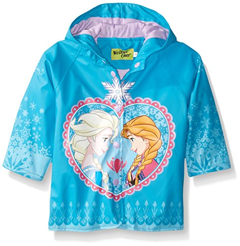 Western Chief Kids Disney Character lined Rain Jacket, Frozen Anna and Elsa, 3T