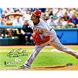 MLB Los Angeles Angels Ervin Santana Road Jersey Pitching Horizontal 8x10 Photo with No Hitter 7-27-11 Inscription
