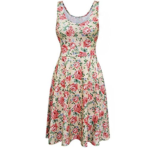 Floral Jaune O Lady robe cou Sexy Imprimer Gilet Casual LUCKYCAT robe Mini Summer Femmes sans manches MINI gTwqp1