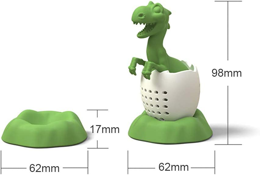 Filtro de t/é en Forma de Dinosaurio Infusor de t/é de Silicona Filtro de Bolsa de t/é Reutilizable Amarillo Ourine Filtro de t/é en Forma de Dinosaurio