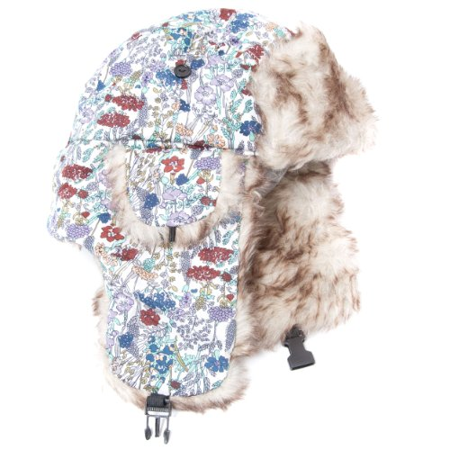 Accessoryo Women's Floral Patterned Trapper Hat with Faux Fur Trim Ear Flaps and Clip Fastening 59cm Multicoloured