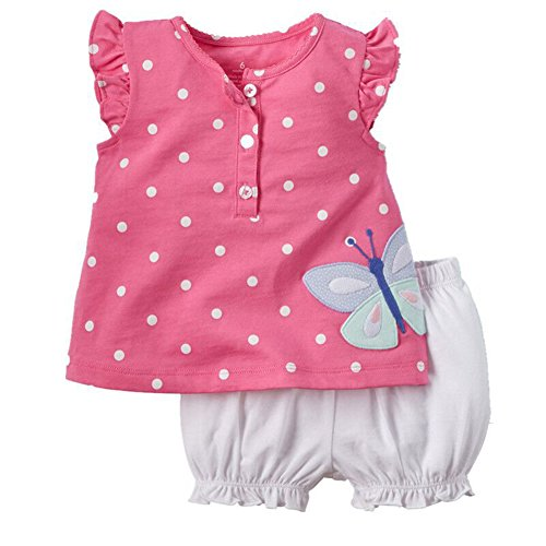 Timall Baby Girls Summer Cute Dots Vest T-shirt Tops Bloomers Pants Outfits Set (Butterfly Short Set)