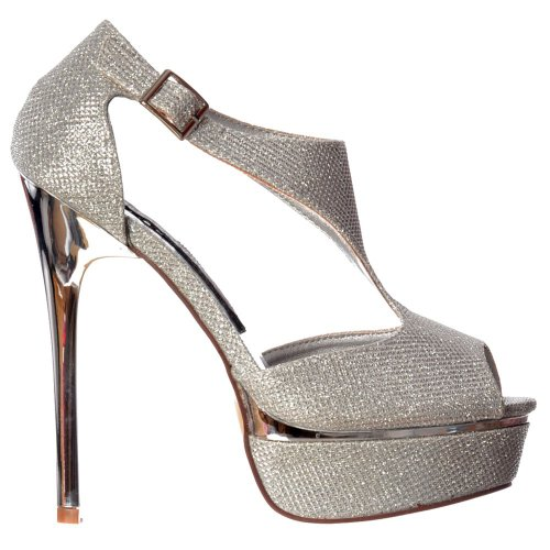 Onlineshoe Women's Sparkly Shimmer Gold or Silver Heel High Heel Peep Toe Party Shoe Silver lBafCZSqw