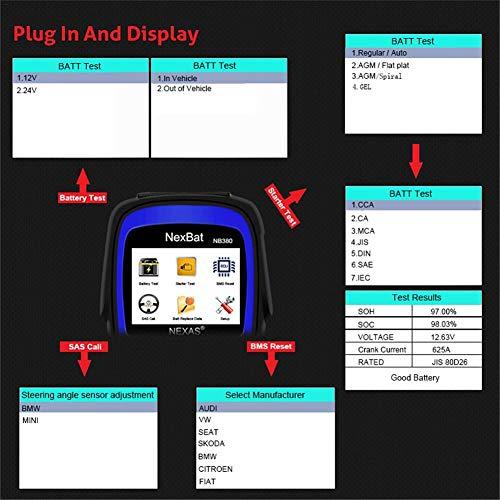 anne210 12V/24V Battery Tester Starter & Charging System 100-2000 CCA Battery Tester Battery Registration Scan Tool by anne210 (Image #1)