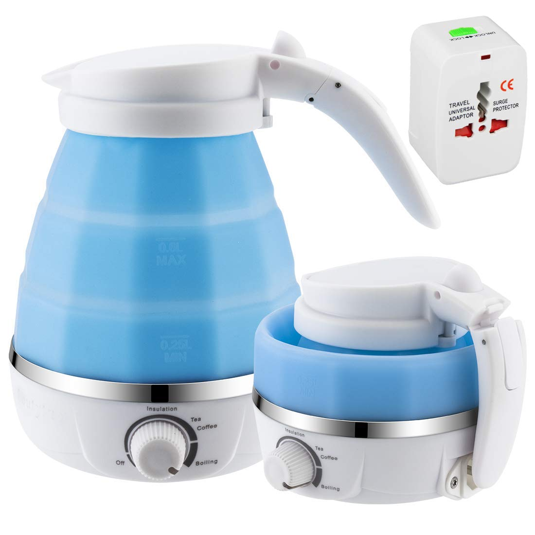 Travel Foldable Electric Kettle for All Country w Dual Voltage and Rapid Boil, Collapsible Design, Food Grade Silicone, 0.6L, 100-120V 220-240V