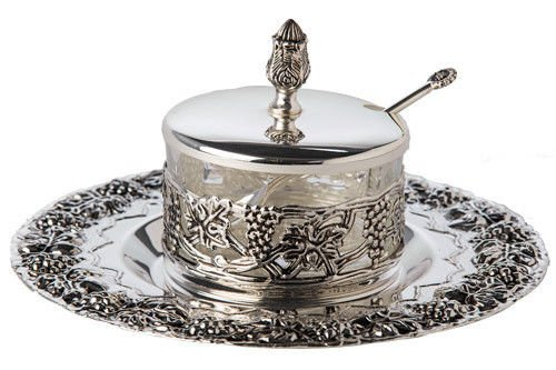 Silver plated Adorn Rosh Hashana Honey Dish, Spoon & saucer, 4. 5
