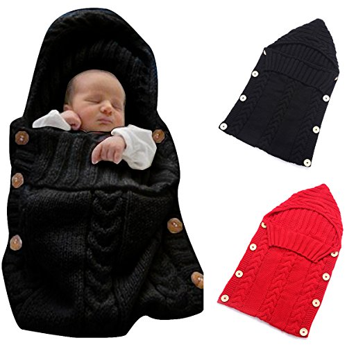 Colorful Newborn Baby Wrap Swaddle Blanket, Oenbopo Baby Kids Toddler Wool Knit Blanket Swaddle Sleeping Bag Sleep Sack Stroller Wrap for 0-12 Month Baby
