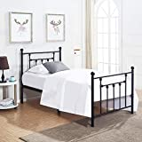 VECELO Twin Size Bed Frame, Metal Platform Mattress Foundation/Box Spring Replacement with Headboard Victorian Style for Kids Student Adult Bedroom