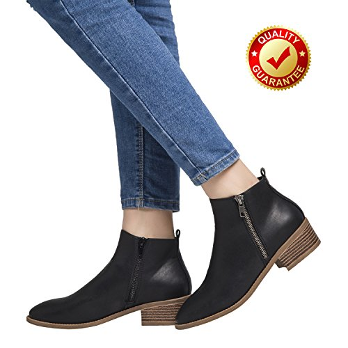 Luoika Ankle Boots For Women,PU Leather Low Chunky Block Stacked Heels Round Toe Ankle Boots For Ladies,Winter Spring Short Slip On Ankle Boots For Lady Big Girls Kids Black Size 10