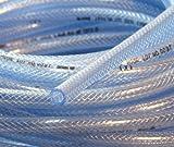 3/8'' (10mm) ID 10 Ft High Pressure Braided PVC Tubing Clear Hose Braid Reinforced