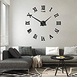 Frameless DIY Wall Clock Silent 3D Acrylic Sticker Roman Numbers Adhesive Modern Art Wall Clock Parts Kit Home Decorations for Living Room Bedroom (2-year warranty) (Black-017)