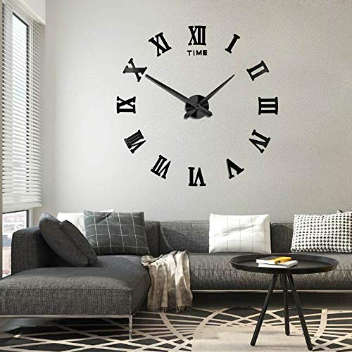 Frameless DIY Wall Clock Silent 3D Acrylic Sticker Roman Numbers Adhesive Modern Art Wall Clock Parts Kit Home Decorations for Living Room Bedroom (2-year warranty) (Black-017) For Sale