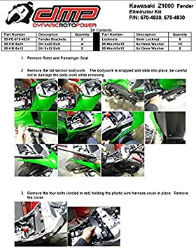MADE IN THE USA 675-4830 2014-2016 Kawasaki Z1000 Fender Eliminator Kit; Includes Turn Signals and Plate Lights