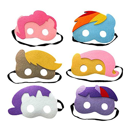 (Lemonkid 6 Pieces of Children's Halloween My Little Pony Mask For Masquare Cosplay Party)