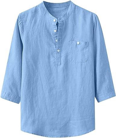 TUDUZ Camisetas Hombre Manga Larga 3/4 Color Sólido Camisas Algodon Y Lino Tops Botón Ropa De Cuello Alto: Amazon.es: Ropa y accesorios