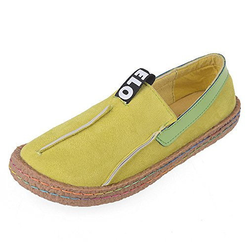 Driving Platform Loafers Mary Walking Slip-On Travel Movement Head Wide Flats Girl's Woman's Shoes Slip-On Casual Leather Outdoor Fashion Sillian Large Size (B(M) US6.5-7/EU37/UK4.5-5/CN37, Yellow) - Kid Suede Casual Shoes