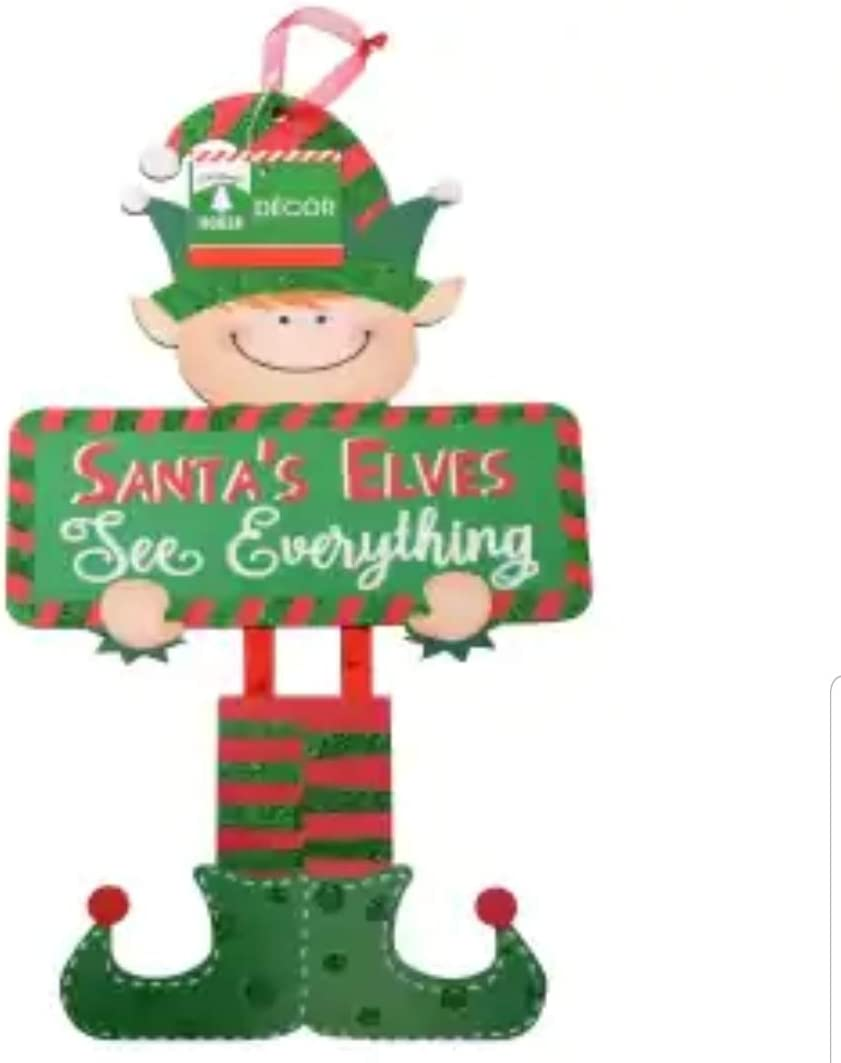 Holiday Christmas Decoration Decor Decorations Home Office Classroom Elf Ensemble de Papeterie Festive Elf Decorative Wall Hanging Sign ~ Santa's Elves See Everything