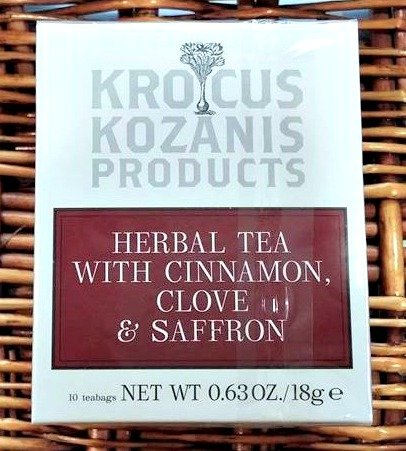 Krocus Kozanis Herbal Tea with Cinnamon, Clove & Greek Red Saffron - 10 Teabags, 18g
