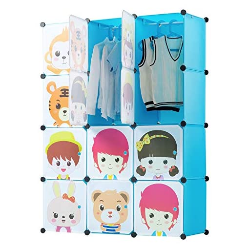 Work-It-Portable-Childrens-Wardrobe-Clothes-Closet-DIY-Modular-Storage-Organizer-Sturdy-and-Safe-for-Children-Blue