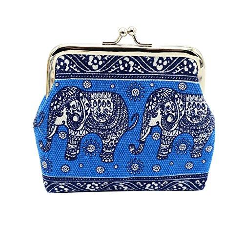 Women Pattern Bag Owill Purse Clutch Blue Lady Canvas Small Elephant Floral gwqPqT4nU