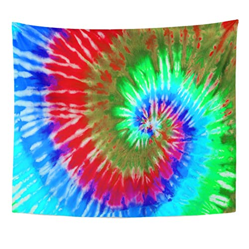 (Emvency Wall Tapestry Hippie Colorful Psychedelic Tie Dye Design Swirl Pattern 1970S 60S Abstract Ashbury Bright Color Culture Decor Wall Hanging Picnic Bedsheet Blanket 60x50)