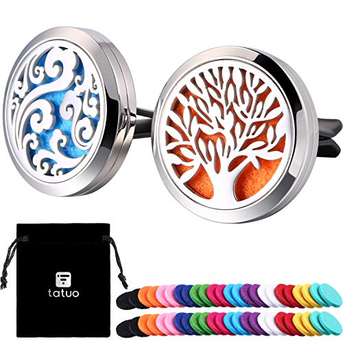 Tatuo 2 Pieces 316L Stainless Steel Car Aromatherapy Essential Oil Diffuser Air Freshener Vent Clip Locket with 48 Pieces Replacement Felt Pad (Cloud, Tree Patterns-Silvery)