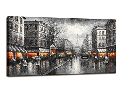 (youkuart Paris Street View Modern Giclee Contemporary Cityscape Artwork Decorative Landscape Oil Paintings Reproduction on Canvas Wall Art for Home Decorations Wall Decor£¨FU001)