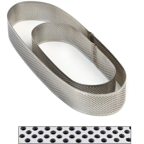 Pavoni Microperforated Stainless Steel Oval Tart Ring Height: 1.4'', 2.75''x7.5''