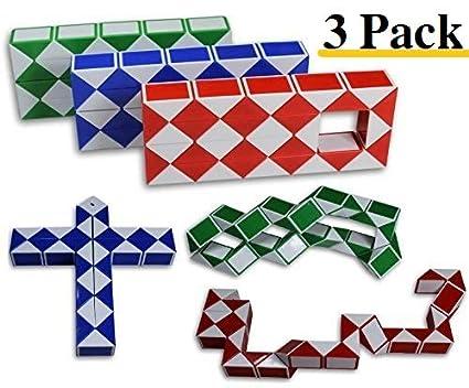 28c099c57bc23 Magic Snake Cube Twist Puzzle Bundle of 3! 36 Wedges! 3 Large Cubes (Large  3 Pack)