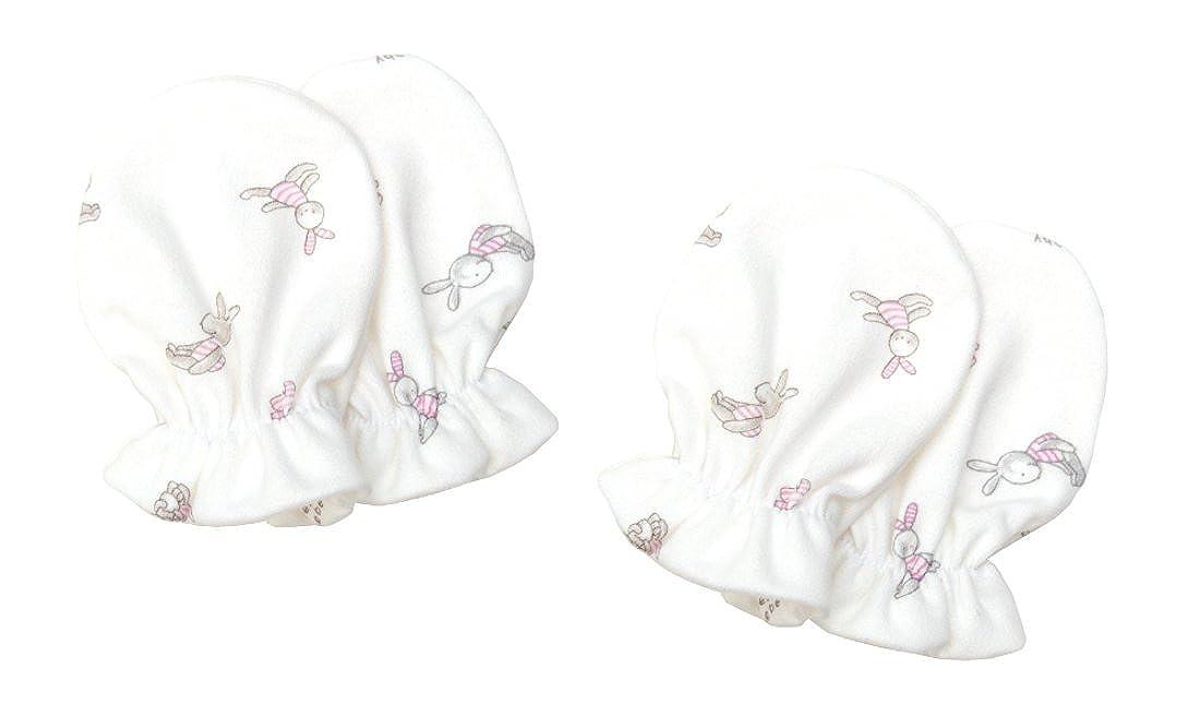Need4Baby 2 Paar Kratzfäustling Baby Handschuhe für Mädchen 0-8 M Hase