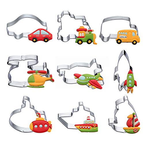 - Transportation Vehicles Cookie Cutters Set - 9 PCS Stainless Steel Biscuit Cutter Mold- Airplane, Car, Train, Ship, Sailboat,Submarine,Rocket,Bus,Helicopter