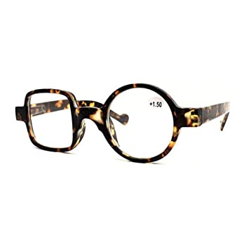 52fb47f37bb Meijunter Vintage Round Square Reading Glasses Women - Stylish Design  Spring Hinge Eyeglass Frame Retro Classic