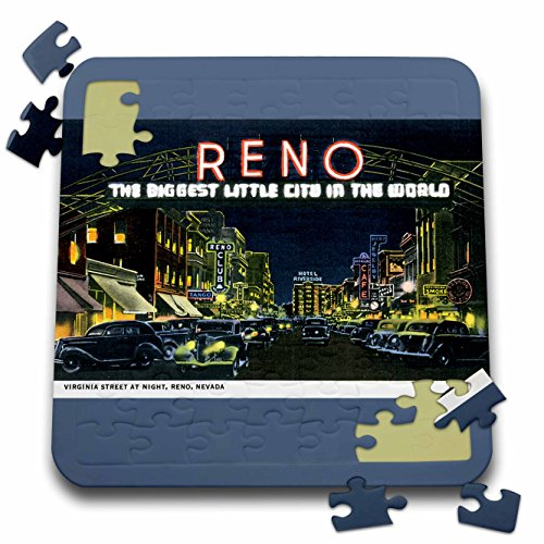3dRose BLN Vintage US Cities and States Postcards - Reno The Biggest Little City in the World Night Scene Reno, Nevada - 10x10 Inch Puzzle (pzl_170284_2) (Reno The Biggest Little City In The World)