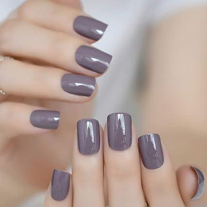 EchiQ - Puntas de uñas postizas, color gris y marrón, acrílico y morado,