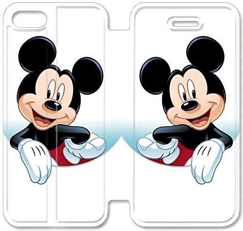 Flip étui en cuir PU Stand pour Coque iPhone 5 5S, bricolage 5 5S Coque Case étui de téléphone cellulaire en cuir Disney Mickey Mouse Minnie Mouse R0S2DQ Coque iPhone unique de protection