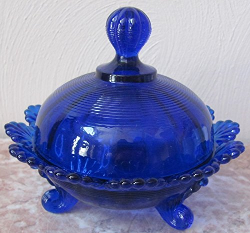 Solid Cobalt Blue Glass Footed Covered Candy Dish Klondyke Pattern