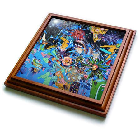 3dRose Tory Anne Collections Photography - Colorful Abstract Art Wynwood Walls Miami - 8x8 Trivet with 6x6 ceramic tile (trv_288475_1)