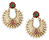 The Jewelbox Chaand Bali 22K Gold Plated Red Green Pearl Dangling Earring for Women