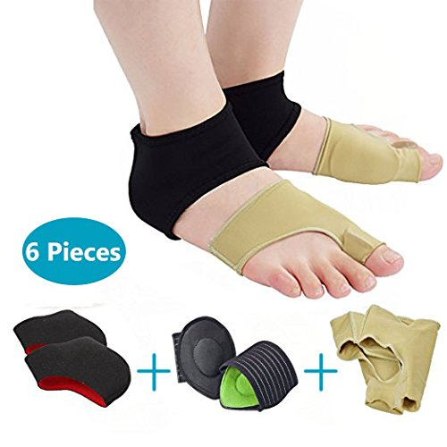 Bunion Splint Foot Care Protector, P-JING Bunion Corrector Relief Protector Sleeves Kit & Arch Support & Foot Heel Protector For Heel Pain Treatment, Flat Foot Plantar Fasciitis Pain (Flat Feet Treatment)