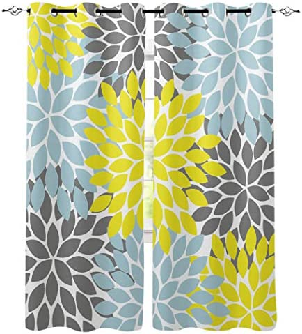 wanxinfu Light Blocking Print Window Curtains, Simple Flower Colorful Dahlia Blackout Curtains Thermal Insulated Window Drapes for Bedroom Living Room 2 Panels, 104 W x 96 L