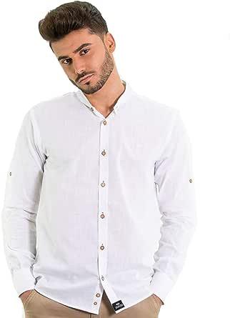 DIVARO - Camisa Lino Cuello Mao Hombre: Amazon.es: Ropa
