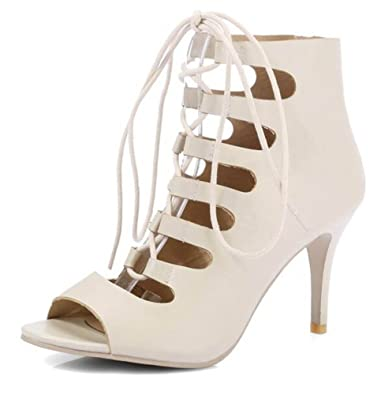 73ea873a9dcc Amazon.com | SHOWHOW Women's Fashion Stiletto Gladiator Lace Up Peep Toe  Hollow Out High Heel Sandals Shoes | Sandals
