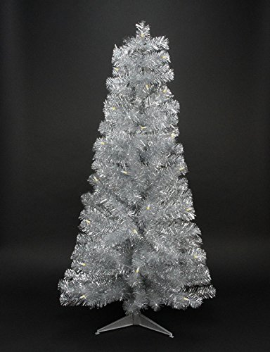Northlight Pre-Lit Slim Silver Artificial Tinsel Christmas Tree with Clear Lights, 4' x 29