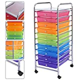 10 Drawer Rolling Storage Cart Scrapbook Paper Office School Organizer Rainbow Ideal For Storing Small Tools In Office, Home, School, Garage