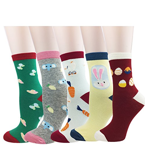 Zmart 5 Pack Novelty Colorful Easter Egg Bunny Carrot Cotton Casual Funny Crew Socks