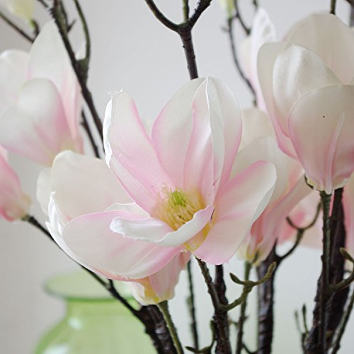 Real Touch Artificial Flowers Lotus Magnolia 3 Stems Pink Light