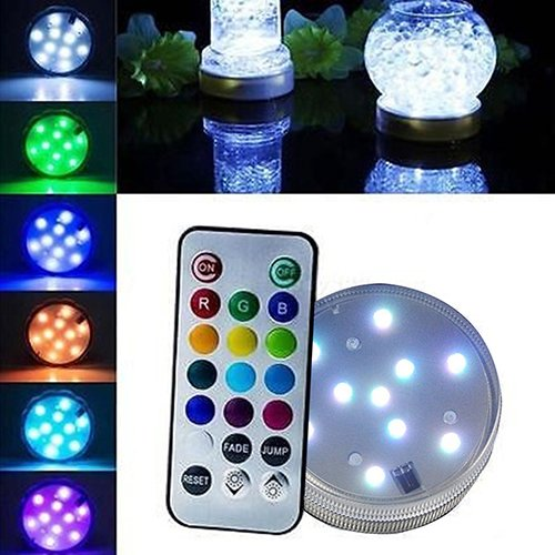 Shengyuze Submersible LED Lights with Remote Control Multi Color Changing Waterproof Battery Powered Mood Night Light for Vase Base, Wedding, Party, Floral, Fish Tank, Pond ()