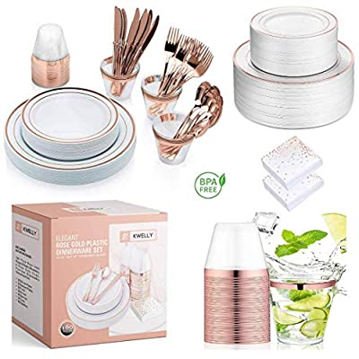 KWELLY Disposable Plastic Tableware Set   Includes Plates, Cutlery, Napkins & Cups for Dinner, Party, Bridal Shower, Birthday & Christmas   No BPA   160 Pieces Rose Gold Fancy & Elegant Silverware