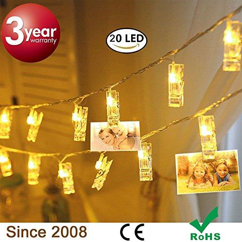 20 LED Photo Clips String Lights, Battery Powered Fairy Twinkle Decorative Lights for Bedroom, Patio, Garden, Yard, Wedding Party, Home Photo Clips, Indoor Outdoor (10 Feet, Warm White)